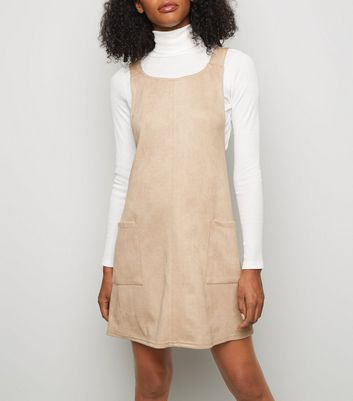 Stone Suedette Scoop Neck Pinafore Dress