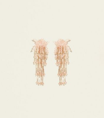 Pale Pink Cascading Bead Earrings