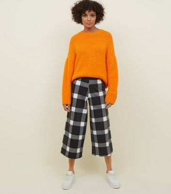 Innocence Black Check Culotte Trousers New Look