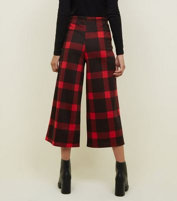 Innocence Red Check Culotte Trousers New Look