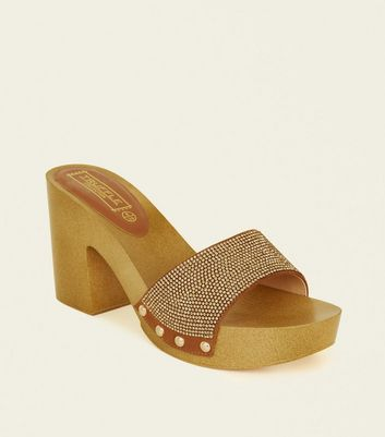 Brown Diamanté Embellished Wooden Mules