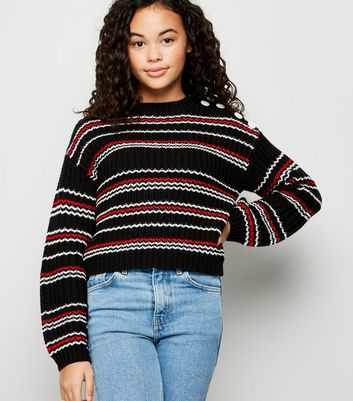 Girls Black Stripe Button Shoulder Jumper