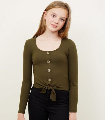 Girls Khaki Ribbed Button Tie Front Top
