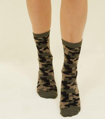 Khaki Camo Pattern Socks New Look