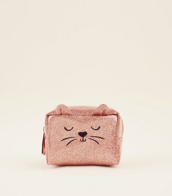 Rose Gold Glitter Cat Mini Make-Up Bag