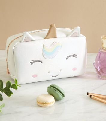 Off White Shimmer Unicorn Make Up Bag