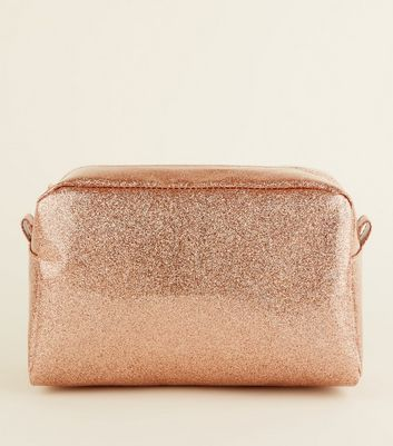 Rose Gold Glitter Large Make-Up Bag