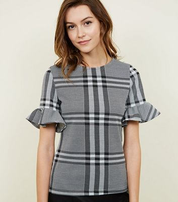 Black Check Frill Sleeve T-Shirt