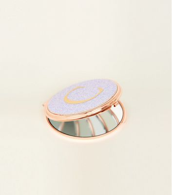 Rose Gold Glitter C Initial Compact Mirror