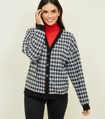 Black Houndstooth Check Fine Knit Cardigan