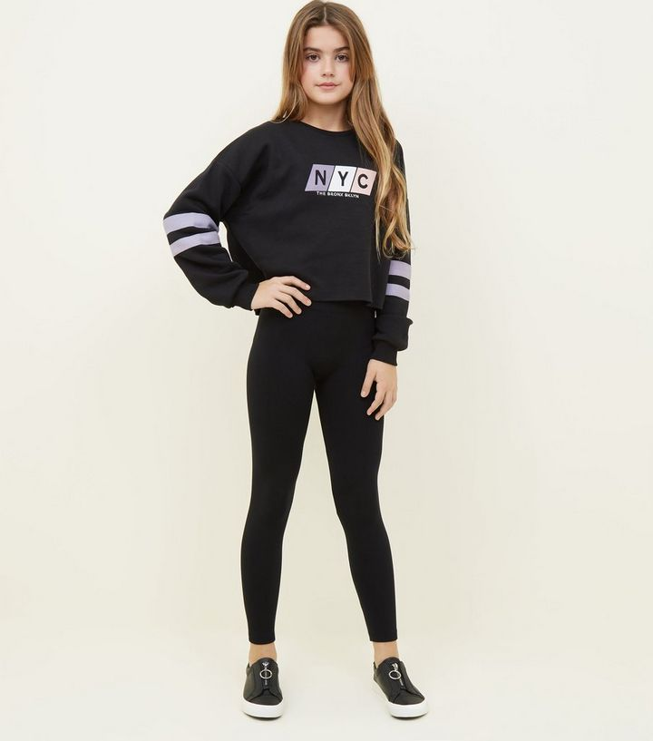 ab9e8a2369d6f Girls Black Fleece Lined Leggings | New Look