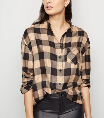Brown Check Pocket Front Shirt