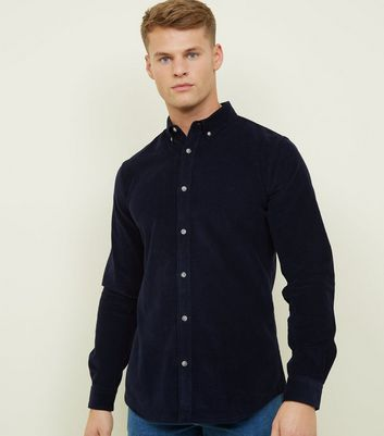 Navy Corduroy Long Sleeve Shirt