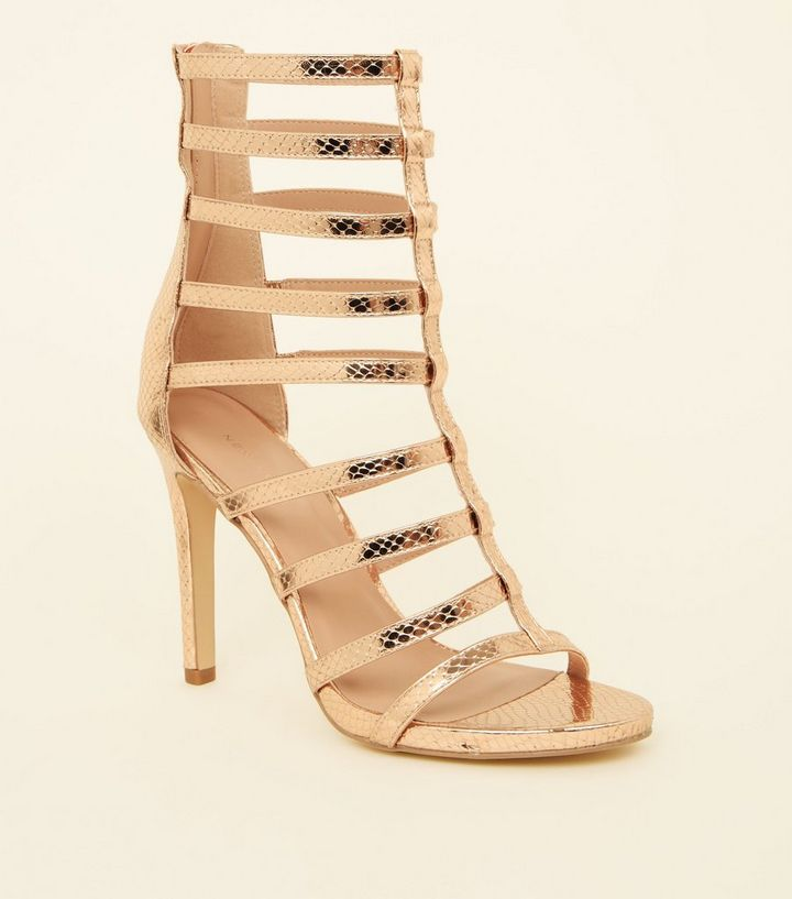 79998e67ffb Rose Gold Faux Snake Stiletto Gladiator Sandals
