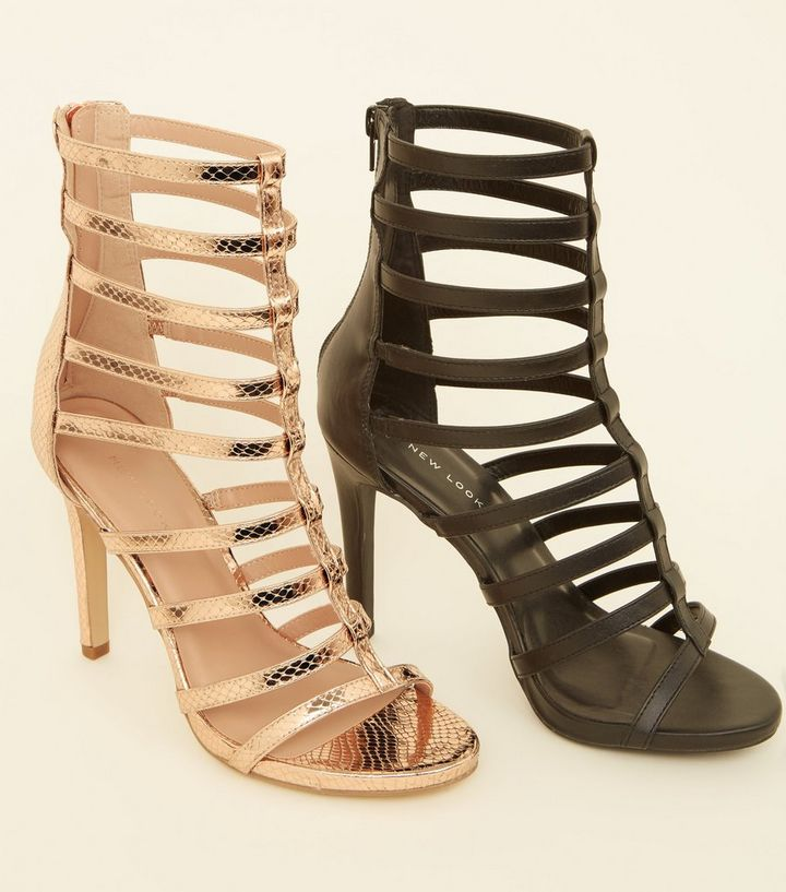 b537b48b7b6 Rose Gold Faux Snake Stiletto Gladiator Sandals Add to Saved Items Remove  from Saved Items