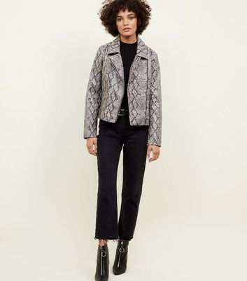Light Grey Faux Snakeskin Biker Jacket