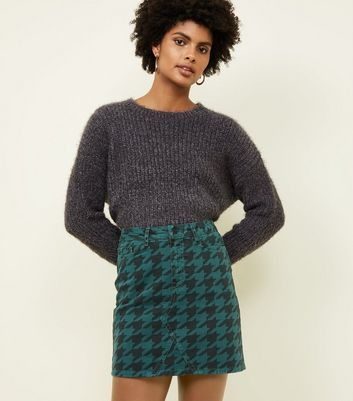 Dark Green Houndstooth Print Denim Mini Skirt