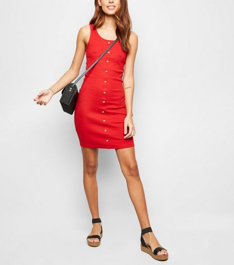 b87782cabc847 ... Red Ribbed Button Front Sleeveless Mini Dress ...