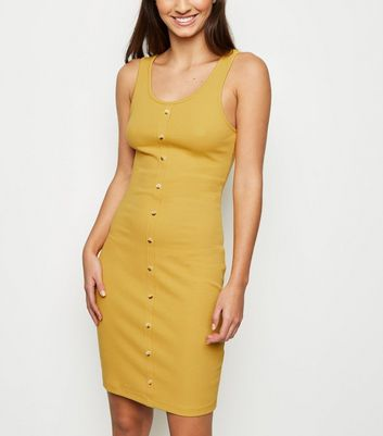 Mustard Ribbed Button Front Sleeveless Mini Dress