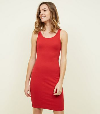 Red Rib Sleeveless Bodycon Mini Dress