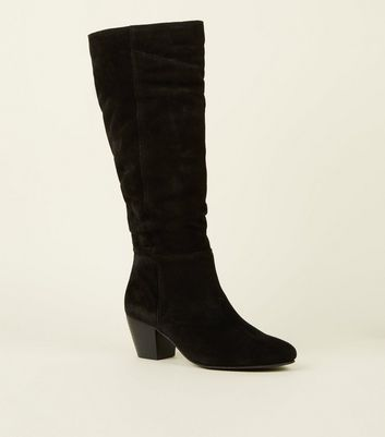 Black Suede Knee High Western Boots