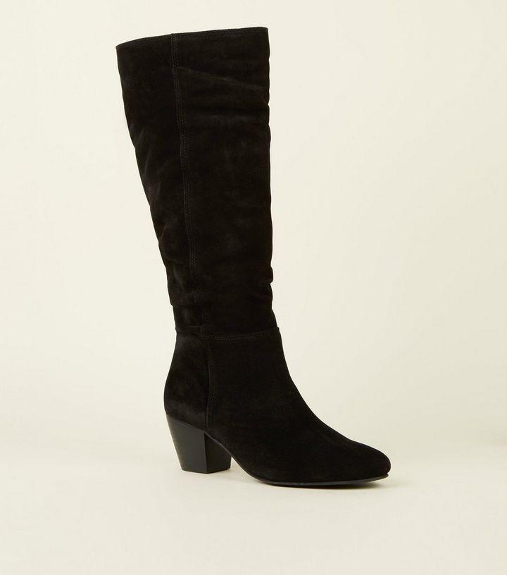 073253721c5 Black Suede Knee High Western Boots