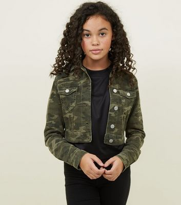 Girls Green Camo Print Denim Jacket