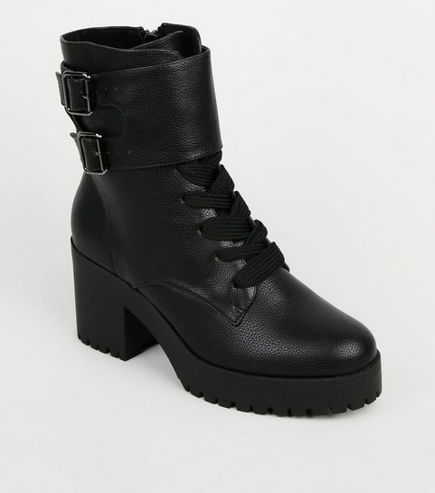 7603483d0b4 ... Black Chunky Block Heel Lace Up Boots ...