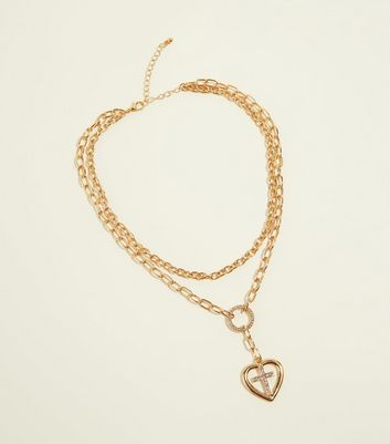 Gold Cross and Heart Chain Pendant Necklace
