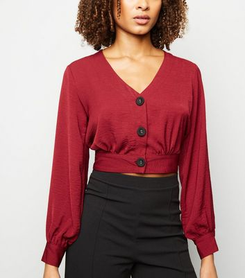 Burgundy Button Front Crop Top