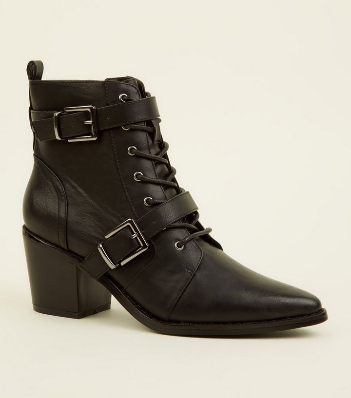 214e47c852a Black Lace Up Buckle Strap Western Boots Add to Saved Items Remove from  Saved Items