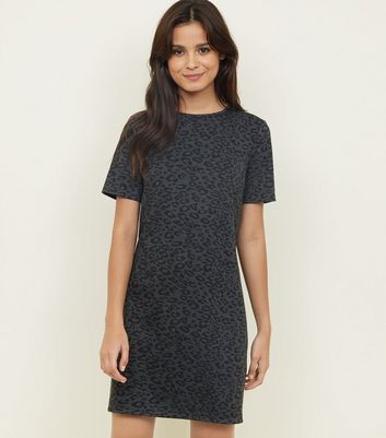 Black Leopard Print Jacquard Tunic Dress
