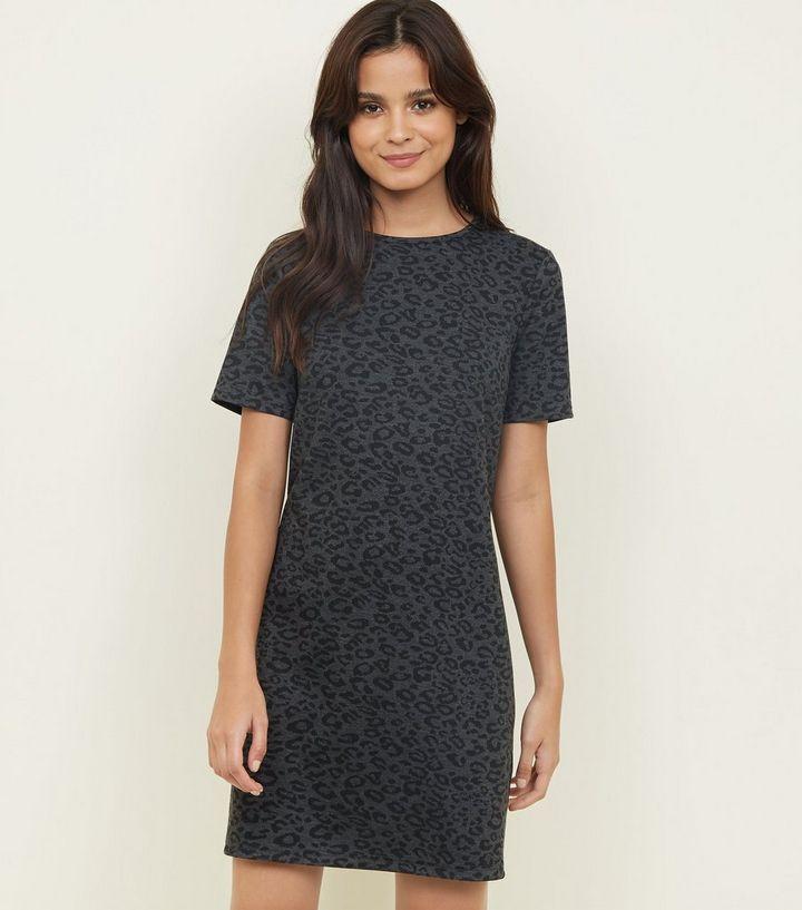 ac3f563b1e12 Black Leopard Print Jacquard Tunic Dress | New Look