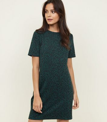 Green Leopard Print Jacquard Tunic Dress