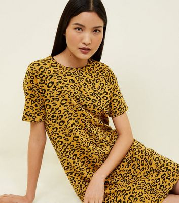 Yellow Leopard Print Jacquard Tunic Dress