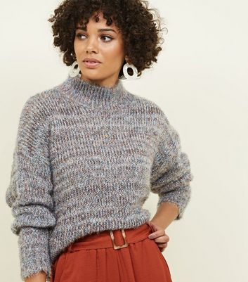 Multi Coloured Metallic High Neck Jumper
