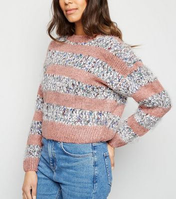 Pink Nep Stripe Knitted Jumper