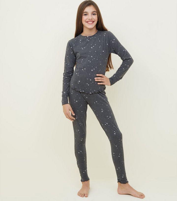 25fa795d87 Girls Grey Glitter Star Print Pyjama Set