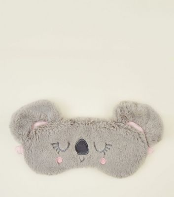 Grey Fluffy Koala Eye Mask
