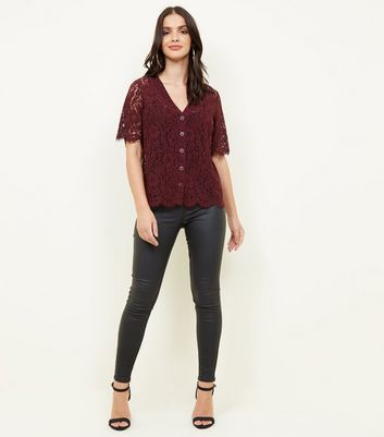 Burgundy Lace Button Through Front Top