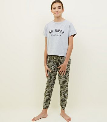 Girls Khaki Camo Go Away Slogan Pyjama Set