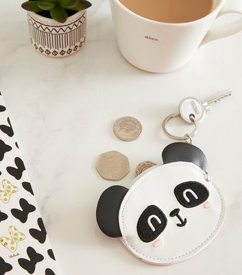 Monochrome Panda Keyring Coin Purse