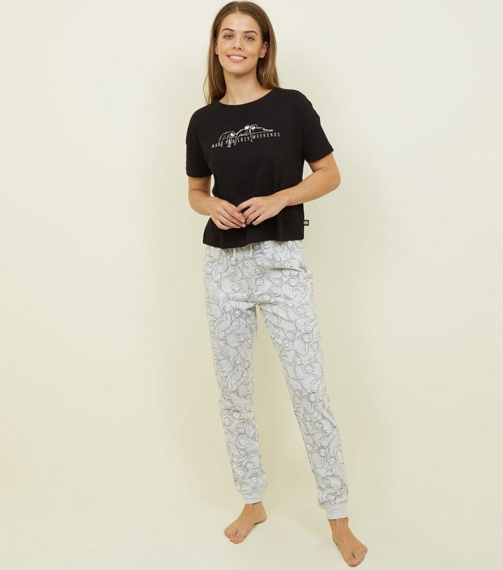 multiple colors best deals on moderate price Black Lazy Sloth Slogan Pyjama Set Add to Saved Items Remove from Saved  Items
