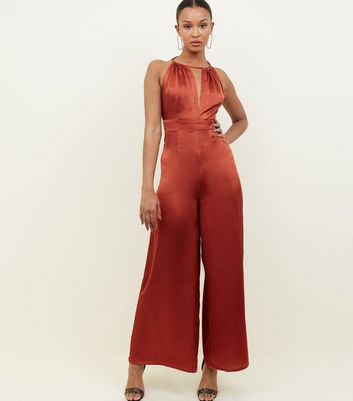 Rust Satin Halterneck Open Back Jumpsuit