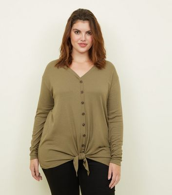 Curves Khaki Button Tie Front Top