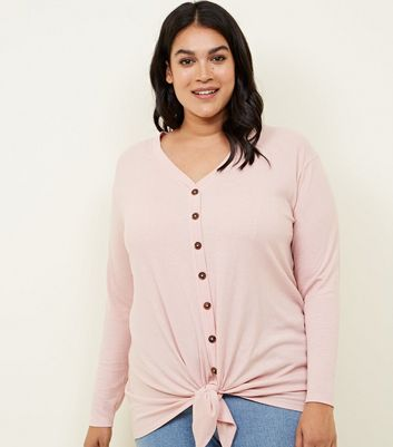 Curves Pale Pink Button Tie Front Top
