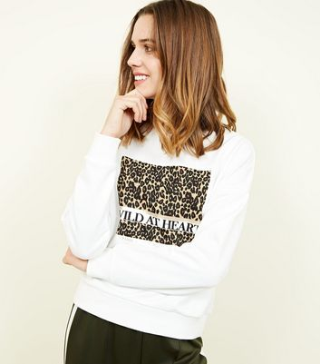 Cream Wild At Heart Leopard Print Sweatshirt