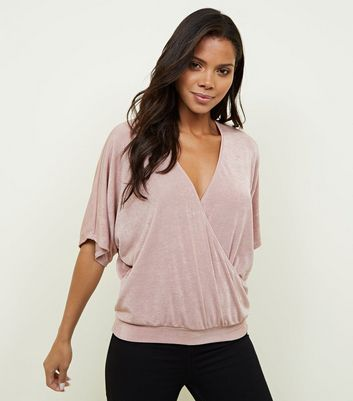 Pink Slinky Wrap Batwing Sleeve Top