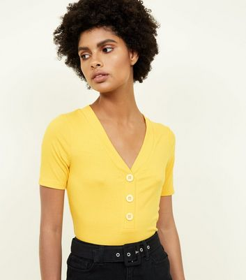 Yellow Orange Ribbed Button Front  T-Shirt