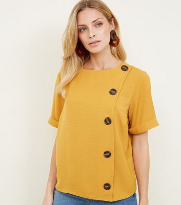 Yellow Button Side Linen-Look Top